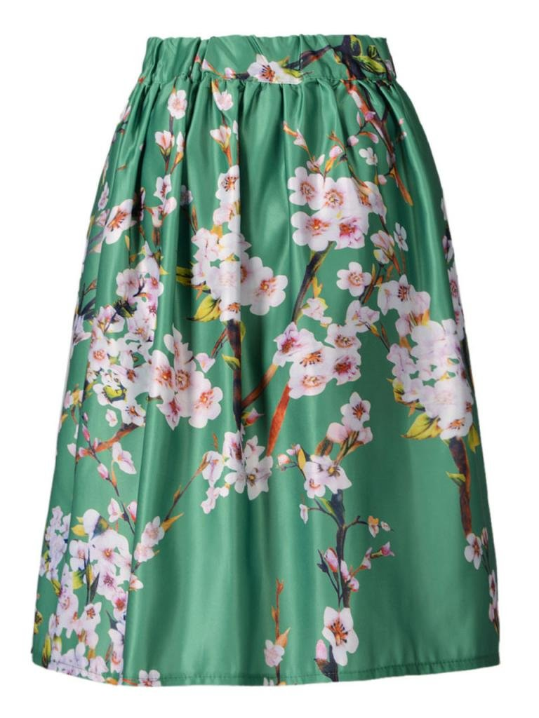 Choies Women's Black/Green/White/Blue Sakura Skater Skirt With Pleat 1