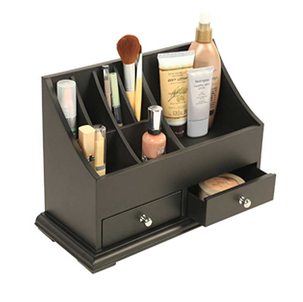 cosmetics counter top organizer bathroom wood 2 drawers holder storage