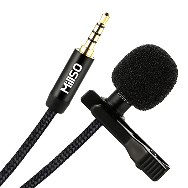 MillSO W11 Lavalier Microphone Clip on Omnidirectional TRRS Lav Mic for Recording, Interview, Podcast, YouTube, Video Conference, Voice Dictation, Sma