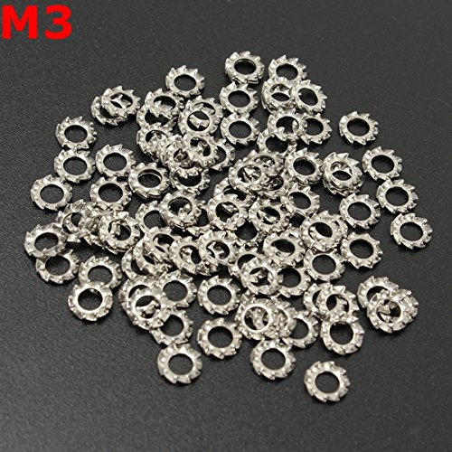 100pcs M3 A2 Stainless Steel External Tooth Star Lock Washer Gasket (10mm Washer Stainless compare prices)