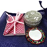 Traditional Indian Lot Home Decor Handheld Mirror With Lac Jewelry Box Handmade Travel Accessories Table Top Antique...