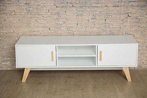 Mobiletto in legno bianco per la TV, in moderno stile scandinavo