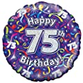 Oaktree 18 Inch Happy 75th Birthday Streamers Holographic Balloon