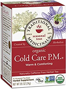 Traditional Medicinals Cold Care PM Herbal Tea, 16-Count Wrapped Tea Bags (Pack of 6)