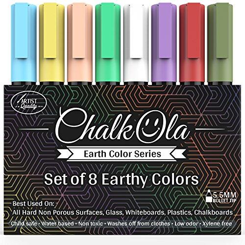 Confezione da 8 pennarelli a gesso con pigmenti in terre colorate, con punta tonda da 6 mm, per l'uso su lavagne tradizionali e magnetiche, finestre e vetrine di locali