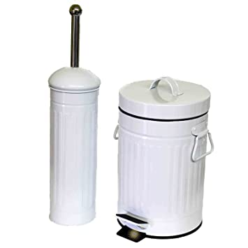 *pm* Bad Set Toilettenbürste WC Bürste Kosmetikeimer Mülleimer 3 L Metall