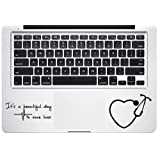 It's a Beautiful Day to Save Lives Derek Quote Grey's Anatomy Heart Stethoscope Macbook Laptop Stickers Decals Vinyl Die Cut Decals (Color: Black, Tamaño: 3 inch)