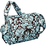 Kalencom Midi Coated Diaper Buckle Bag, Toile Chocolate/Blue