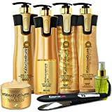 Keratin CURE Brazilian Treatment V2 LGEL Gold & Honey Hair Straightening Repair and Shine 7 Piece Kit 960 Ml /32.5 Fl Oz - Tratamiento Brasilera De Keratina Alisado