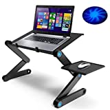 Large Laptop Stand for Bed & Sofa,Portable Laptop Table Stand,Adjustable Portable Laptop Desk with 2 USB Cooling Fans and Mouse Pad (Color: Aluminum)