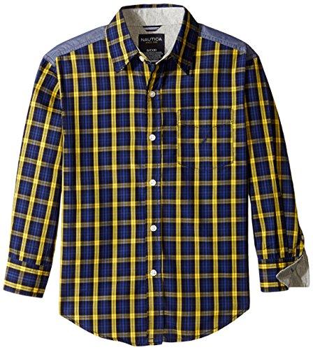 Nautica Big Boys' Yarn Dye Woven Plaid Shirt with Jersey Trim, Yellow, Medium