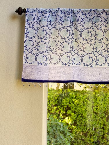 Midnight Lotus (C)~ Blue Beaded Window Valance Curtain Treatment front-990450