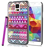 BeeShine Retail Package Snap-on Hard Plastic Skin Back Case Cover W/ LCD Film Screen Protector & Touch Stylus Pen for Samsung Galaxy S5 / SV /G900 (Colorful Aztec Tribal Tribe Pattern)