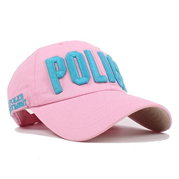 Vankerful Department Hat Police Embroidered Hats Adjustable Kids Baseball  Caps Pink For Girls Children For 3-6 Years Old Snapback cefc42129dfd