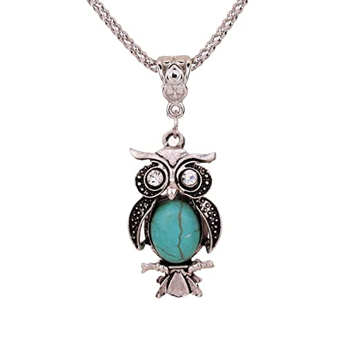 Yazilind-Antique-Tibetan-Silver-Owl-Inlay-Crystal-Eyes-Turquoise-Pendant-Chain-Necklace