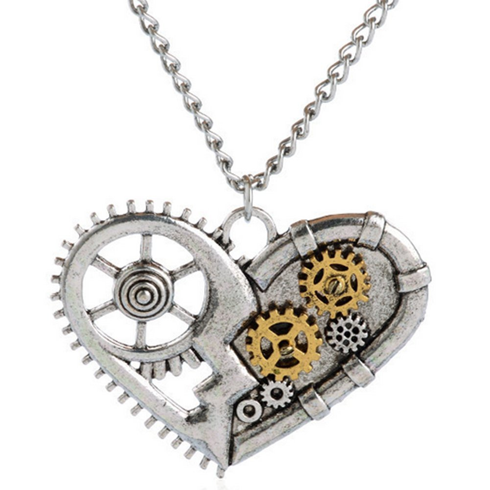 Benran Vintage Steampunk Gear Charm Necklace Heart Pendant Crafting Clock Watch Wheel Jewelry (Silver)