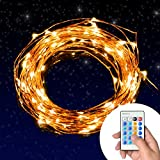 Decorative Lights, Dimmable String Lights 100 Leds Twinkle lights 33 ft for Christmas, Holiday, Patio, Party ( Copper Wire Lights, Warm White, Remote Control )