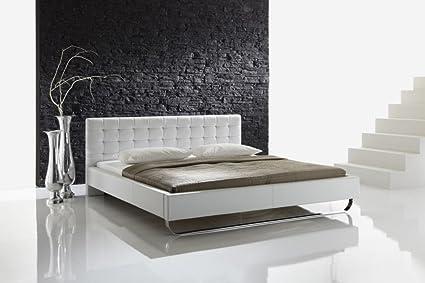 "Meise Möbel 668-10-50000 Polsterbett ""Pasadena"" mit Kunderlederbezug, gestepptes Kopfteil, Liegefläche 180 x 200 cm, weiß"