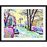 WallsnArt, Abstract Modern Framed Art Work Painting With Glass,Digital Painting Of Winter Landscape