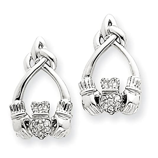 14ct White Gold Rough Diamond Claddagh Post Earrings