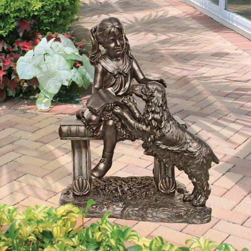 Garden Decor Statue of a Girl Sitting on a Bench with Her Dog Bronze Finish