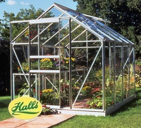 Halls Popular 8ft x 6ft Wide Greenhouse with Horticultural Glass and Base