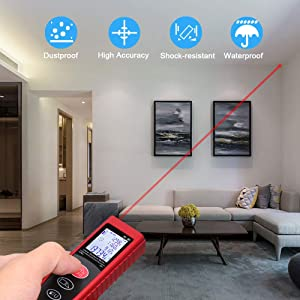 Aifulo Laser Measure 262ft, Portable 80m Laser Measuring Device with Backlight LCD, Mini Digital Laser Distance Meter Measure Distance/Volume/Area/Pythagorean(Red)