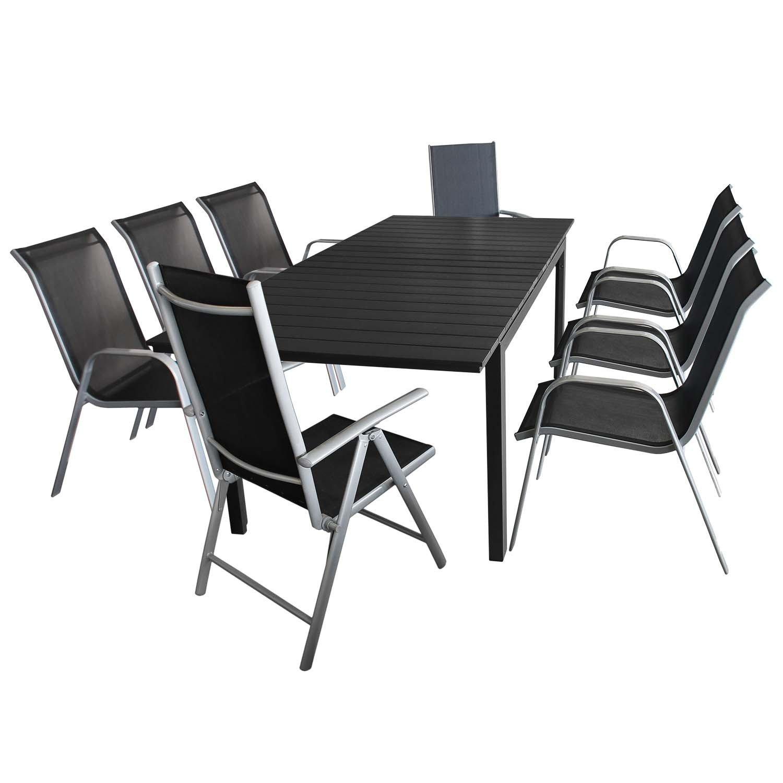 9tlg. Gartengarnitur – Ausziehtisch mit Polywood Tischplatte 160/210x95cm + 6x Stapelstuhl + 2x Hochlehner, klappbar – Sitzgruppe Sitzgarnitur Sitzgruppe Gartenmöbel Terrassenmöbel Set jetzt kaufen