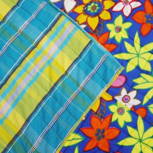 Decorativo azul Queen Size edredón estampado de flores Inicio Dacor Algodón Colcha Reversible 108