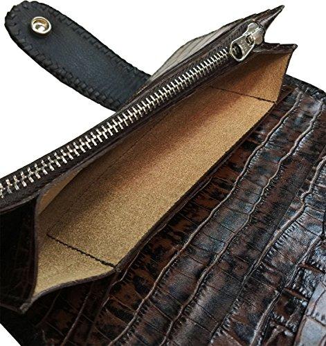 D'SHARK Luxury Biker Crocodile Skin Leather Bi-fold Snap Wallet (Black) 3