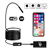 Wireless Endoscope, Beva Semi-Rigid WiFi Borescope Inspection Camera 2.0 Megapixels HD Waterproof Snake Camera for Android, iOS and Windows System, iPhone, Samsung, Tablet, PC - Black(5 M)