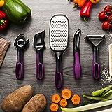 Zodaca Kitchen Tools Utensil Sets for Fruit/ Vegetable Garnishing and Food Decorating - Cheese Grater, Swivel Peeler, Y Peeler, Bottle Opener & Citrus Zester