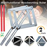 Miter Angle Measuring Ruler,Aluminium Alloy Protractor,Corner Angle Finder Multi Angle Measurement Tool Bevel & Corner Protractor Angle Divider for Woodworking Flooring Tile - Rust-proof by Yoruii (Color: 2pack)