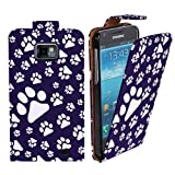 Xtra-Funky Exclusive Animal Dog Cat Paw Foot Print Pu Leather Flip Case Cover For Samsung Galaxy S2 (i9100) - Purple