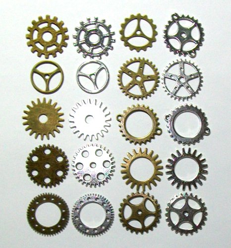 20 pcs Gears Cogs Antiqued Brass & Silver for Crafting Steampunk Jewelry & Altered Art 1″ size