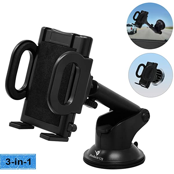 Car Phone Mount KLKE Universal Air Vent Cell Phone Holder for Car Strong Sticky Gel Suction Cup Dashboard Windshield Car Phone Holder Landscape Portrait Mode Car Phone Cradle for iPhone Samsung Galaxy