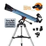 Celestron Inspire 80AZ Refractor Smartphone Adapter Built-in Refracting Telescope, Blue (22402) (Color: Blue)