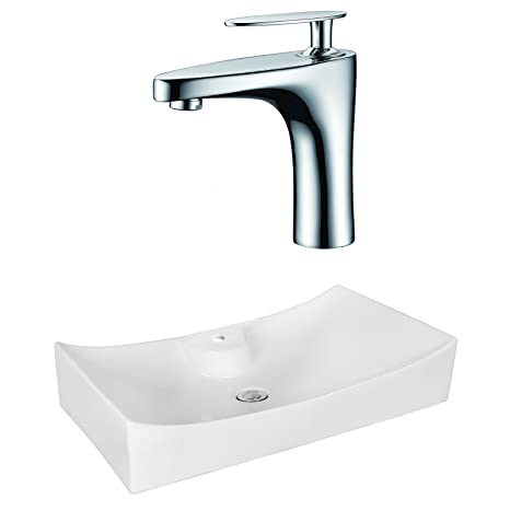 "Jade Bath JB-18043 26"" W x 15.35"" D Rectangle Vessel Set with Single Hole CUPC Faucet, White"