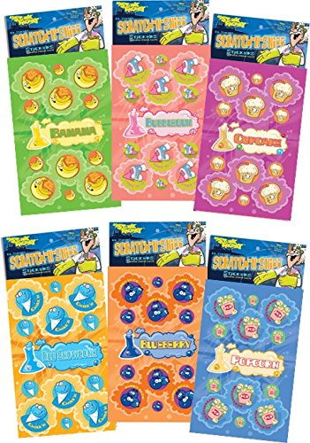 Dr. Stinky's Scratch N Sniff Stickers 6-Pack- Blueberry, Popcorn, Cupcake, Blue Snowcone, Banana, Bubblegum 162 Stickers - 1