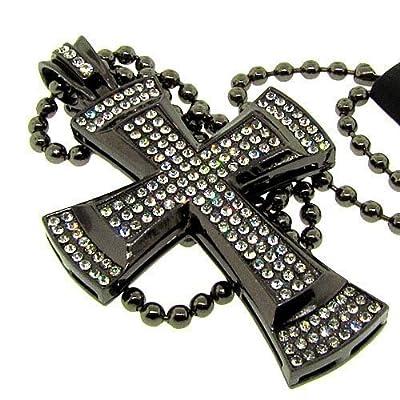Men's Bling King Cross Pendant - Iced Out - Gunmetal - Bling sp297