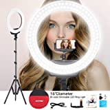 ZOMEi Ring Light Kit 16 Inch Led Photography Fill Light with Light Stand and Phone Holder Selfie Circle Light Compatible with Makeup Mirror Camera Cellphone for Live Stream, YoTube Video Shoot (Color: 16inch 3, Tamaño: 16 inch ring light)