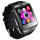 Qiufeng Q18 Smart Watch Smartwatch Bluetooth Sweatproof Phone with Camera TF/SIM Card Slot for Android and iPhone Smartphones for Kids Girls Boys Men Women(Black) (Color: Black, Tamaño: Adjustable Smart Watch)