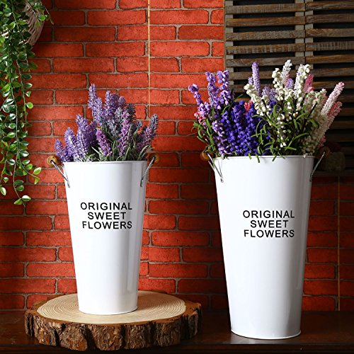 Pastoral Style Shabby Chic Larger Metal Pitcher Vase for Flowers Decoration (2, White) 0