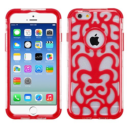 Apple Iphone 6 T Clear Electric Red Brick Hybrid Glo Cover Snap On Hard Case Cell Phone Shield Protector Shell From [Accessory Library]
