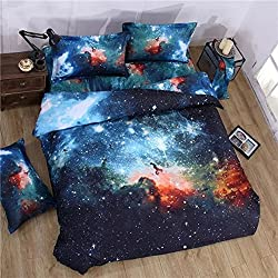 Babycare Pro Galaxy Print Polyester Duvet Cover Bedding Sets Full Size 4-Piece for Teen Kids ( 1 Duvet Cover,1 Flat Sheet,2 Pillow Cases)(Full)