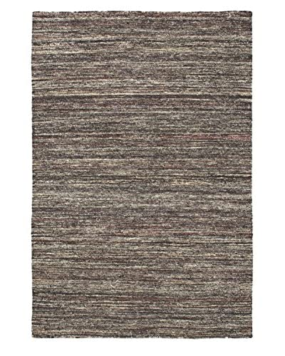 Oak Rugs Hand Woven Silky Allure Wool/Silk Kilim Rug, Black/Dark Brown, 4' 5 x 6' 7
