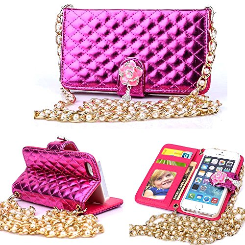 Carryberry ,Wallet Case For Iphone 5,Iphone 5S Leather,Lurxury Wallet Purse Handbag Design Soft Leather Case Cover For Iphone 5 5G 5S (1.1 M Long Rope)By Canica(Hot Pink)