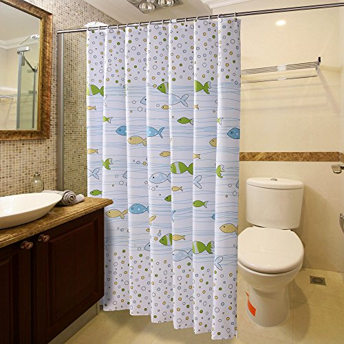 Homeideas Fish Designer White Shower Curtain For Bathroom Waterproof Polyester Fabric 72x72inch