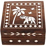 Kapasi Handicrafts Wood Small Square Jewellery Box (LxBXH) (8 X 8 X 5 Cms, White And Brown)