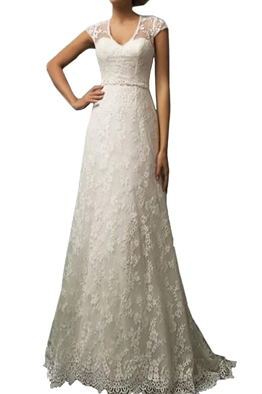 Vintage Lace Country Wedding Dresses Cap Sleeve Sheer Boho A line Bridal Gowns 0